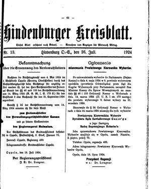 Zabrzer (Hindenburger) Kreisblatt vom 26.07.1924