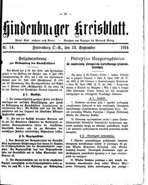 Zabrzer (Hindenburger) Kreisblatt vom 13.09.1924