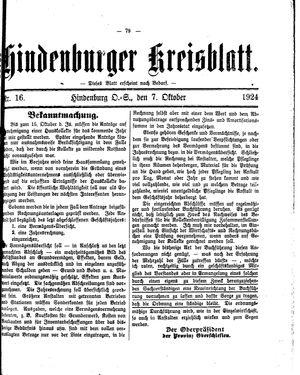 Zabrzer (Hindenburger) Kreisblatt vom 07.10.1924