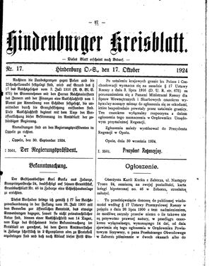 Zabrzer (Hindenburger) Kreisblatt vom 17.10.1924