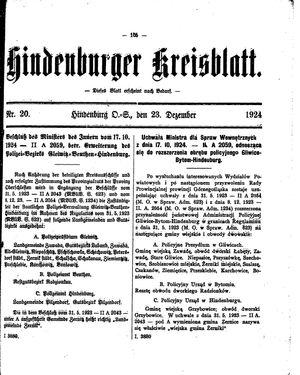 Zabrzer (Hindenburger) Kreisblatt vom 23.12.1924