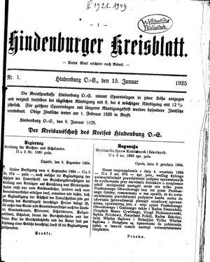 Zabrzer (Hindenburger) Kreisblatt vom 15.01.1925
