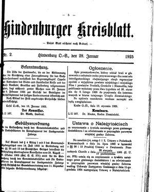 Zabrzer (Hindenburger) Kreisblatt vom 28.01.1925