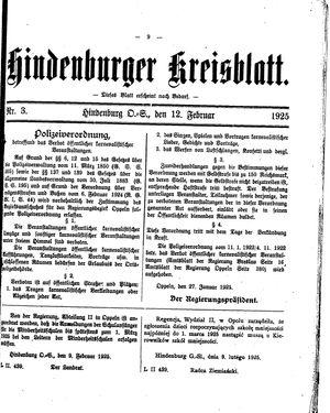 Zabrzer (Hindenburger) Kreisblatt on Feb 12, 1925