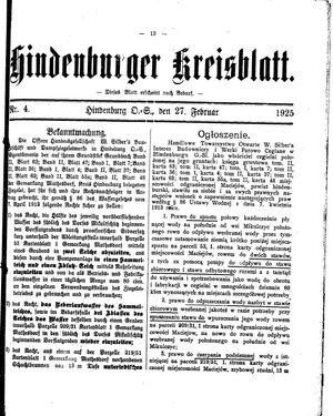 Zabrzer (Hindenburger) Kreisblatt vom 27.02.1925