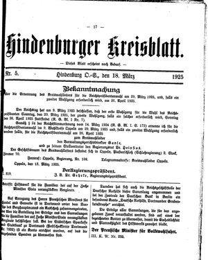 Zabrzer (Hindenburger) Kreisblatt vom 18.03.1925