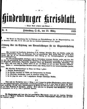 Zabrzer (Hindenburger) Kreisblatt vom 25.03.1925
