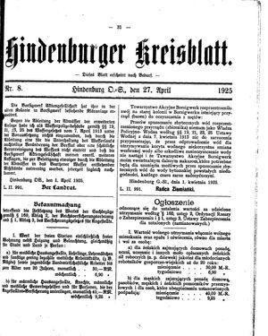 Zabrzer (Hindenburger) Kreisblatt vom 27.04.1925
