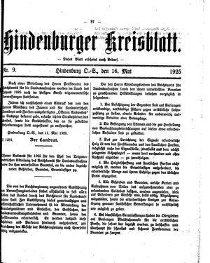 Zabrzer (Hindenburger) Kreisblatt vom 16.05.1925