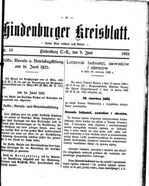 Zabrzer (Hindenburger) Kreisblatt vom 09.06.1925