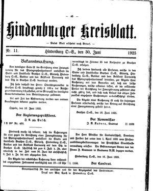 Zabrzer (Hindenburger) Kreisblatt vom 30.06.1925