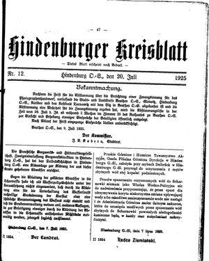 Zabrzer (Hindenburger) Kreisblatt vom 20.07.1925