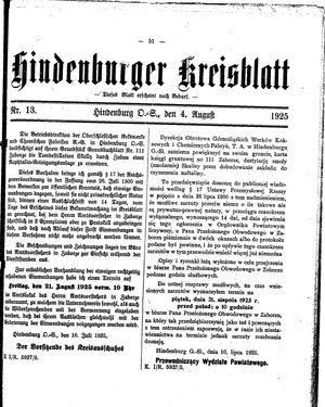 Zabrzer (Hindenburger) Kreisblatt on Aug 4, 1925