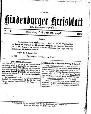 Zabrzer (Hindenburger) Kreisblatt on Aug 22, 1925