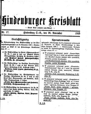Zabrzer (Hindenburger) Kreisblatt vom 26.11.1925