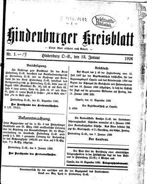 Zabrzer (Hindenburger) Kreisblatt vom 13.01.1926