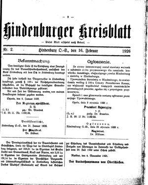 Zabrzer (Hindenburger) Kreisblatt on Feb 16, 1926