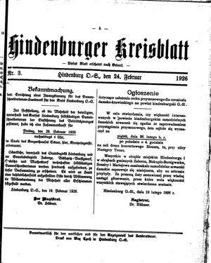 Zabrzer (Hindenburger) Kreisblatt on Feb 24, 1926