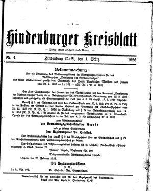 Zabrzer (Hindenburger) Kreisblatt on Mar 1, 1926