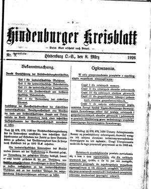 Zabrzer (Hindenburger) Kreisblatt vom 08.03.1926