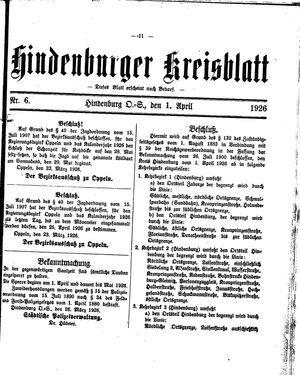 Zabrzer (Hindenburger) Kreisblatt vom 01.04.1926