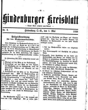 Zabrzer (Hindenburger) Kreisblatt vom 01.05.1926