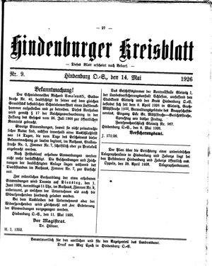 Zabrzer (Hindenburger) Kreisblatt on May 14, 1926