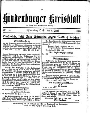 Zabrzer (Hindenburger) Kreisblatt vom 04.06.1926