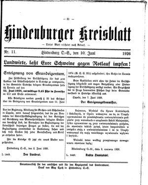 Zabrzer (Hindenburger) Kreisblatt vom 10.06.1926