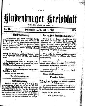 Zabrzer (Hindenburger) Kreisblatt vom 06.07.1926