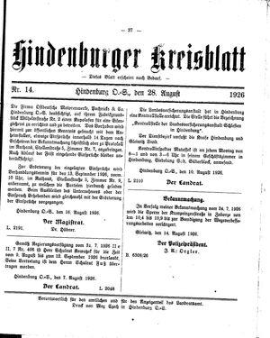 Zabrzer (Hindenburger) Kreisblatt vom 28.08.1926