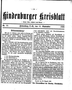 Zabrzer (Hindenburger) Kreisblatt on Sep 11, 1926