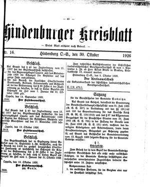 Zabrzer (Hindenburger) Kreisblatt vom 30.10.1926