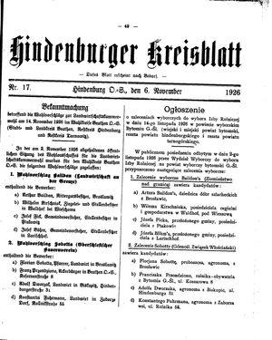 Zabrzer (Hindenburger) Kreisblatt on Nov 6, 1926
