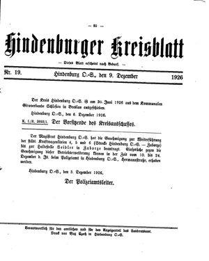 Zabrzer (Hindenburger) Kreisblatt vom 09.12.1926