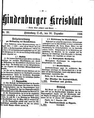 Zabrzer (Hindenburger) Kreisblatt vom 30.12.1926