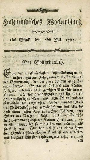 Holzmindisches Wochenblatt vom 02.07.1785
