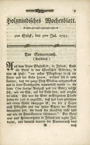 Holzmindisches Wochenblatt vom 09.07.1785