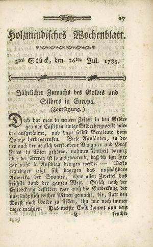 Holzmindisches Wochenblatt vom 16.07.1785