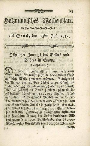 Holzmindisches Wochenblatt vom 23.07.1785