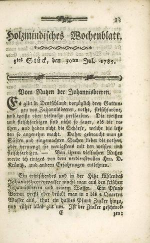 Holzmindisches Wochenblatt on Jul 30, 1785