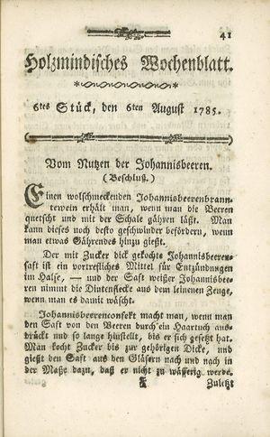Holzmindisches Wochenblatt vom 06.08.1785