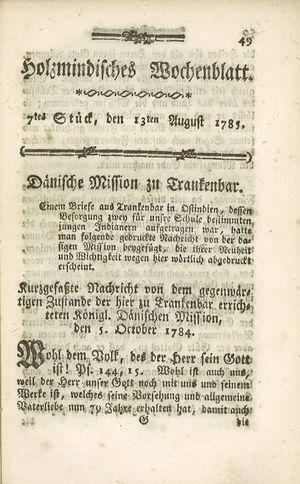 Holzmindisches Wochenblatt vom 13.08.1785