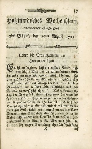 Holzmindisches Wochenblatt vom 20.08.1785