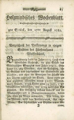 Holzmindisches Wochenblatt vom 27.08.1785