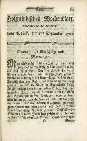 Holzmindisches Wochenblatt vom 03.09.1785