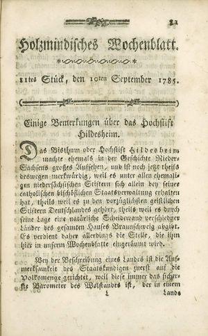 Holzmindisches Wochenblatt vom 10.09.1785