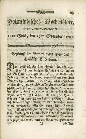 Holzmindisches Wochenblatt vom 17.09.1785