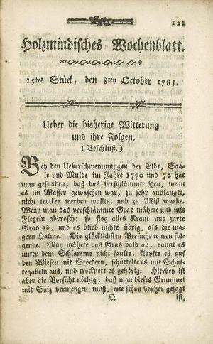 Holzmindisches Wochenblatt on Oct 8, 1785