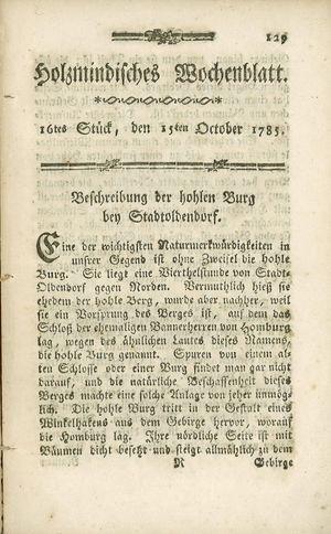Holzmindisches Wochenblatt vom 15.10.1785